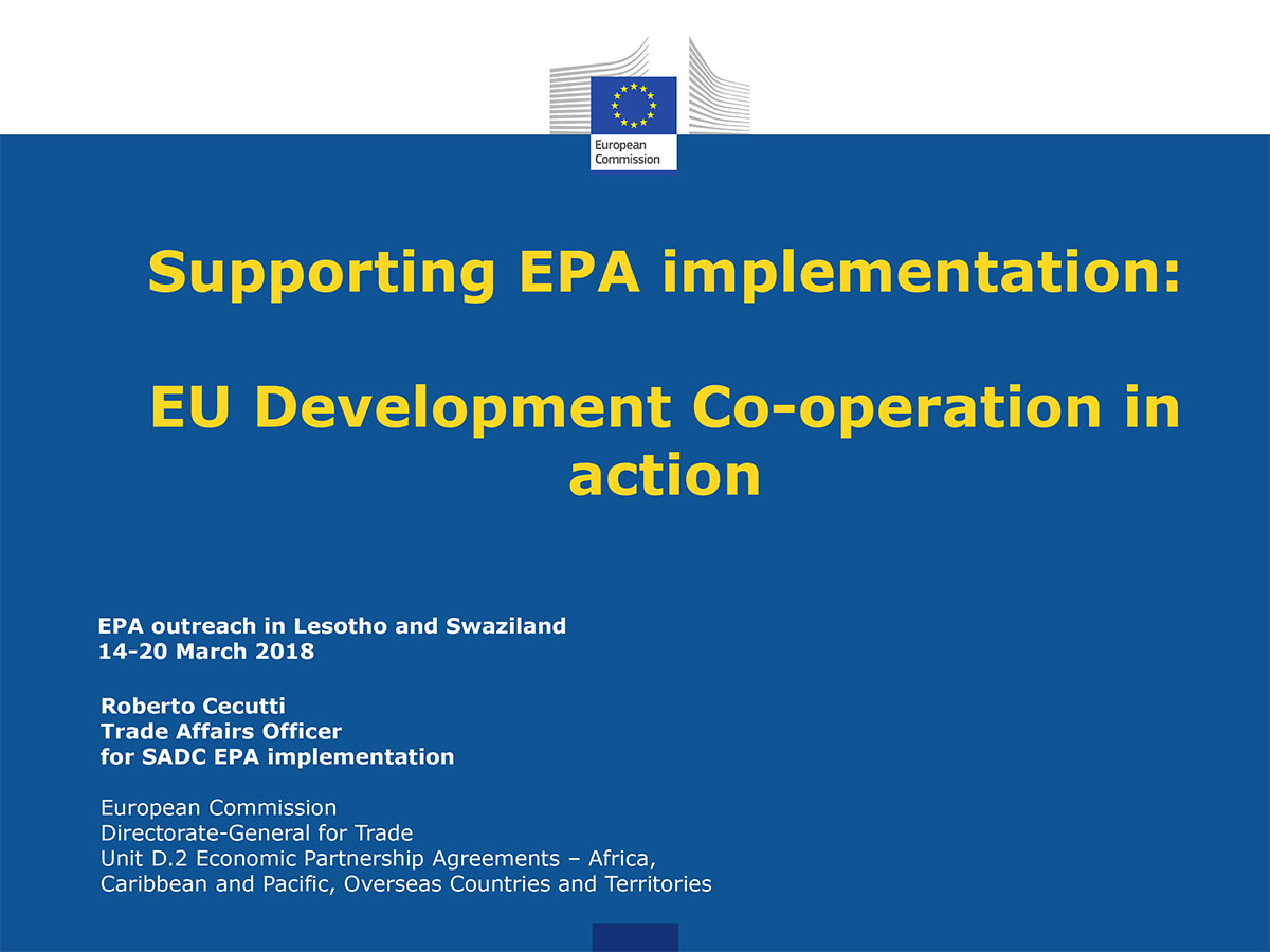 Supporting EPA implementation: EU Development Co-operation in action