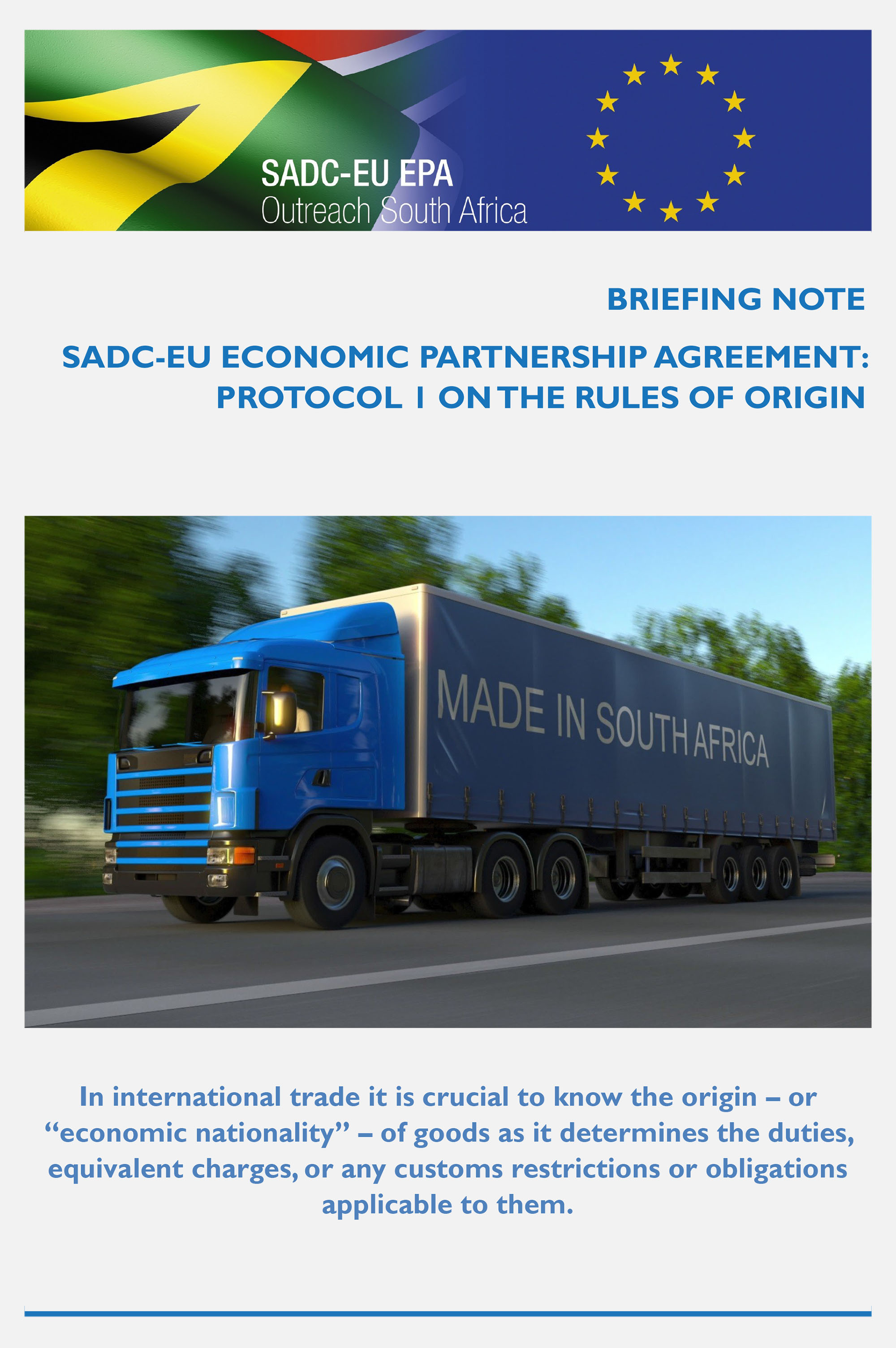 SADC-EU EPA: Protocol 1 on the Rules of Origin