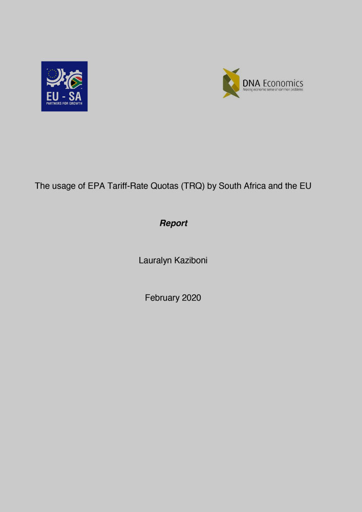 The usage of EPA Tariff-Rate-Quotas by South Africa and the EU