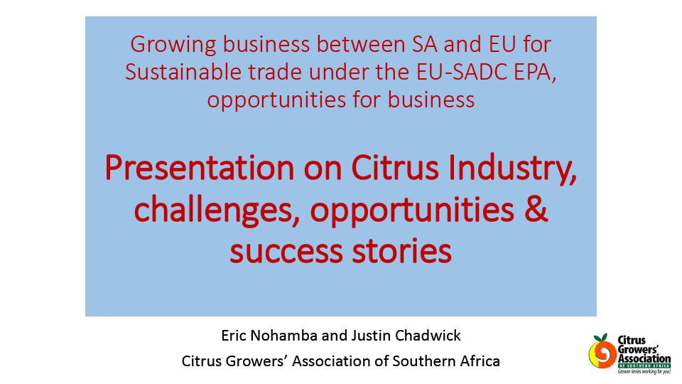 SADC-EU EPA Outreach - Organic, Fair & Ethical Trade Event